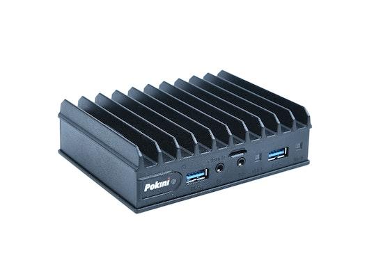 "Lüfterloser Mini-PC ""Pokini F2""     |     Intel Atom E3950     |     WLAN/4LAN/8USB/LTE/CANbus optional"