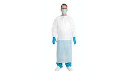 Einweg Schutzkittel Protect – Coat 180 x 130 wasserdicht, waterproof, weiß, unsteril Einwegkittel