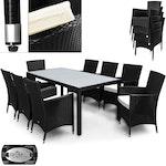 Rattan Sitzgarnitur 8+1 mit stapelbaren Stühlen - schwarz