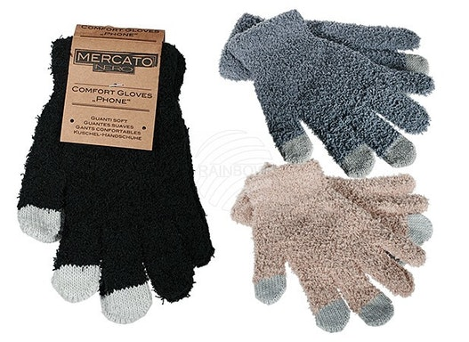 02-1013 Kuschel-Handschuhe, Phone, 100 % Polyester, ca. 28 g, Einheitsgröße, 3-farb