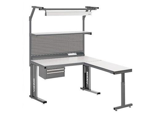 Arbeitstisch Viking Comfort Set 4, 1200x700 mm mit Beleuchtung, Energieleiste und Anbautisch