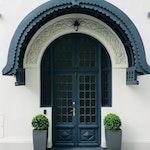 Wooden exterior doors with overlight