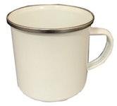 Emaille-Tasse mit Edelstahlrand