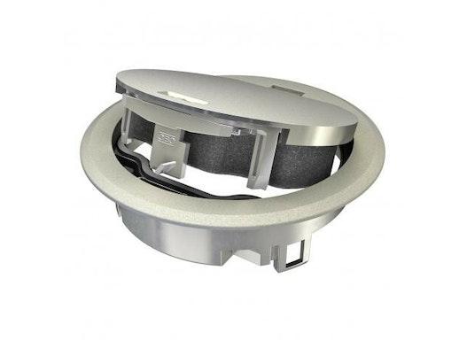 Geräteeinsatz mit Klappdeckel und Rastschieber für Bodensteckdose GES R2 zum direkten Einbau in die Dose MT R2.