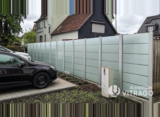 Glaszaun nach Maß - Zaun, Trennwand, Windschutz, Sichtschutz aus Glas für Garten und Terrasse als Komplett-Set