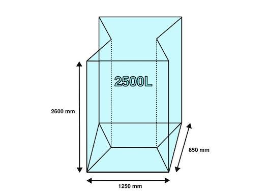 Seitenfaltensack 2500L 1250+850x2600mm 45µ (30 Stück/ Karton)