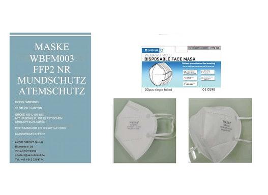 FFP2 Masken WBFM003 Atemschutzmaske Lieferung aus Deutschland