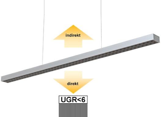 LEDAXO LED-Pendelleuchte 04 direkt/indirekt abstrahlende Büroleuchte, Büro-Arbeitsplatz-geeignet (UGR <6)