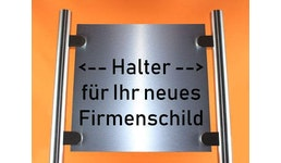 Schilderhalter für Firmenschild aus Edelstahl - Rundrohr