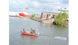 Schleppfähige Ölbindmatten für Gewässerschutz